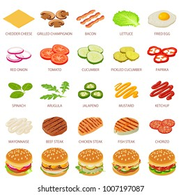 Burger or hamburger ingredient icons set. Isometric illustration of 25 burger ingredient food vector icons for web