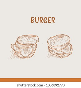 Burger hand drawn style vector