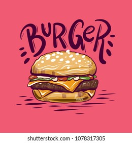 Burger hand drawn vector illustration isolated on background.