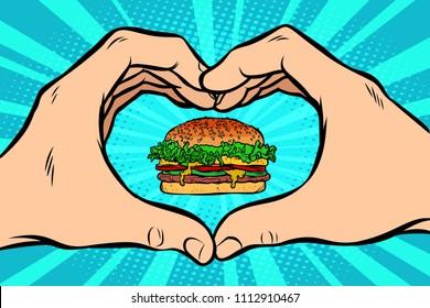 Burger, hand gesture heart. Comic cartoon pop art retro vector illustration kitsch vintage drawing