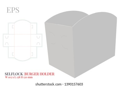Burger Holder Template, vector with die cut / laser cut layers. Burger carrier, Open Burger Box. White, clear, blank, isolated Paper Burger Holder mock up on white background, perspective presentation