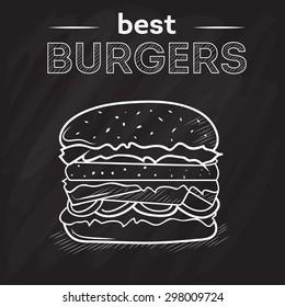 Burger house poster on black chalkboard. Chalk painted illustration of burger. Burger menu poster on blackboard