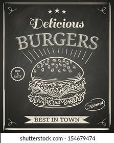 Burger house poster on chalkboard