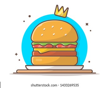Burger Icon with Gold Crown. Hamburger King. Fast Food Logo. Kids School Food. Cafe and Restaurant Menu. Flat Cartoon Style Suitable for Web Landing Page,  Banner, Flyer, Sticker, Card, Background