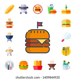 burger icon set. 17 flat burger icons.  Simple modern icons about  - bread, grill, hamburguer, bbq grill, bbq, food, no fast food, fries, fast food, sandwich, drink