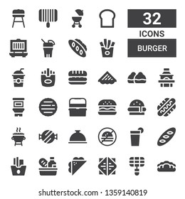 burger icon set. Collection of 32 filled burger icons included Bread, Grill, Sandwich, Food, French fries, Beverage, No fast food, Foods, Barbecue grill, Hot dog, Burger, Hamburguer