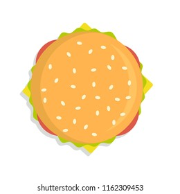 Burger icon top view . Stock flat vector illustration.