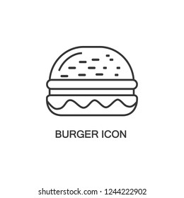 Burger icon vector isolated on white background, Burger transparent sign , thin symbols or lined elements in outline style