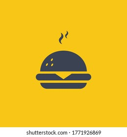 Burger Icon. vector symbol in flat simple design style on orange background