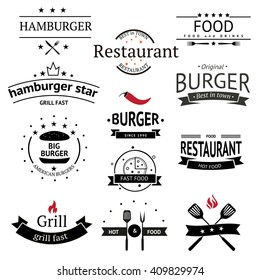 Burger icons, labels, signs, symbols and design elements. Vector collection of fast food badges.