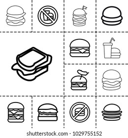 Burger icons. set of 13 editable outline burger icons such as burger, sandwich