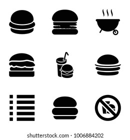 Burger icons. set of 9 editable filled burger icons such as menu, no fast food