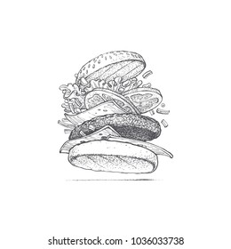burger illustration by hand, fast food, appetizing sandwich, iconic food, retro style, fashion graphic, vector image