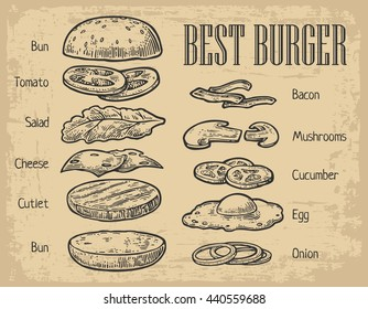 Burger ingredients on chalkboard. Isolated painted components on beige background. Vector vintage engraving Illustration for poster, menu, web, banner, info graphic