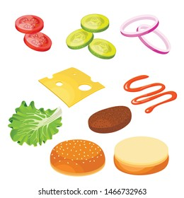 Burger ingredients. Set  ingredients isometric view on white background. Vector illustration.