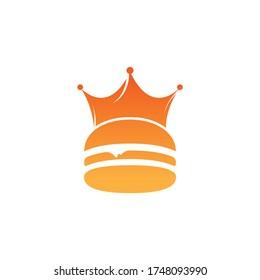 Burger king vector logo design. Burger with crown icon logo concept.