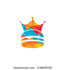 Burger king vector logo design. Burger with crown icon logo concept.