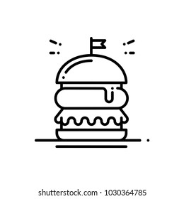 Burger line icon. Hamburger sign and symbol. Fast food.