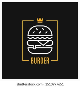 Burger linear logo. Design of burger icon in frame on black background