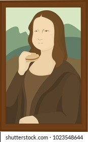 Burger Lisa.  It's Mona Lisa eating a hamburger.mTransparent background in vector file.