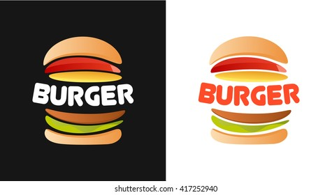 Burger Logo with caption, Vector Illustration isolated on white and black