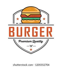 Burger logo design, for a fast food modern store. Retro badge illustration.