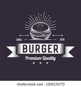 Burger Logo design, Retro badge white icon, Hipster emblem fast food illustration