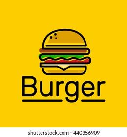 burger logo emblem colored shape line style