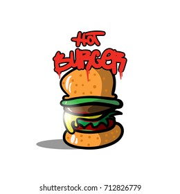 Burger logo in graffiti style. Vector