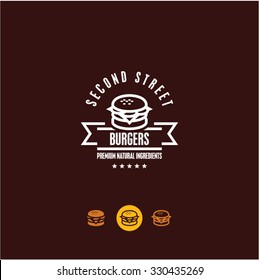 burger logo, burger icon, fast food, snacks