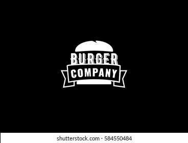 Burger logo icon template on black background