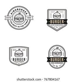Burger logo set vintage element vector illustration vector