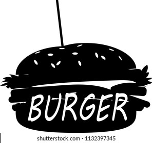 Burger logo. silhouette with the inscription