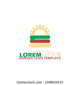 Burger Logo Template. Vector Illustration. Flat, Simple, Modern Style Design.