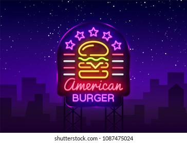 Burger logo vector. American burger, design template light emblem, burger street food neon sign, light banner, neon night fast food advertisement, billboard design element sandwich. Billboard