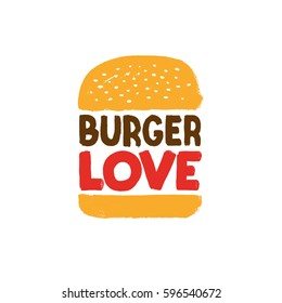 burger love vector sign, hand painted