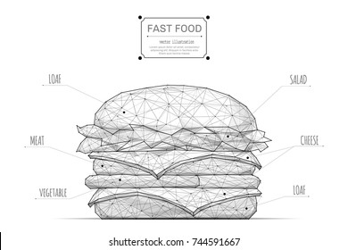 Burger low poly wireframe isolated black on white background. Abstract mash line and point origami. Vector polygon illustration. Fast food with geometry triangle. Light connection digital structure.