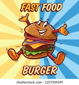 burger mascot cartoon