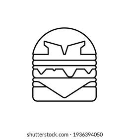 burger mascot. coloring activities for children. children's learning tools for coloring. Gladiator burger cartoon vector illustration. burger mascot. without color
