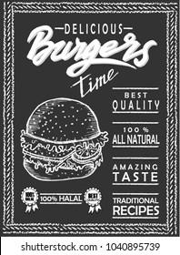 burger, menu, food, sketch