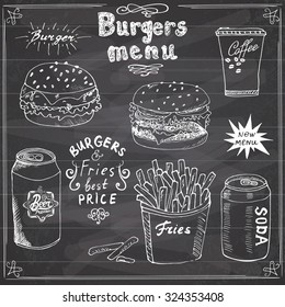 Burger Menu hand drawn sketch. Fastfood Poster with hamburger, cheeseburger, potato sticks, soda can, coffee mug and beer can. Vector illustration with lettering, on Chalkboard background.