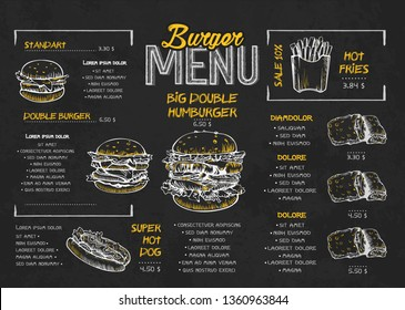 Burger menu poster design on the chalkboard elements. Fast food menu skech style. Can be used for layout, banner, web design, brochure template. Vector illustration