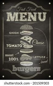 Burger Menu Poster on Chalkboard. Hamburger Ingredients. Vector Illustration.