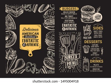 Burger menu template for restaurant on a blackboard background vector illustration brochure for food and drink cafe. Design layout with lettering and doodle hand-drawn graphic icons.