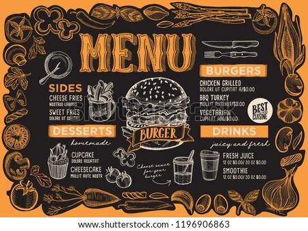 Burger Menu Template For Restaurant On A Blackboard Background Vector Illustration Brochure Food And Drink
