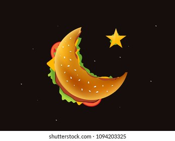 Burger in moon shape , Crescent Ramadan Kareem Top view illustration of cheese burger Realistic Hamburger
