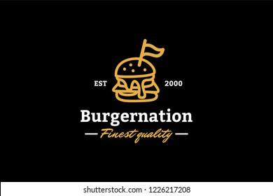 Burger nation the finest quality logo template with type of line art logo inspiration. Can use for corporate brand identity, burger shop, cafe, and restaurant