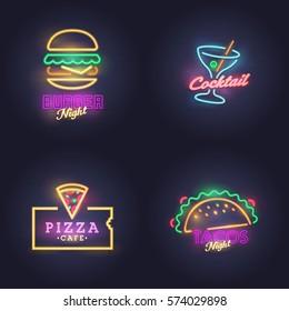 Burger neon sign. Cocktail, Nacos and Pizza neon sign, bright signboard, light banner. Logo, label, emblem.