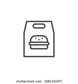 Burger paper bag outline icon. linear style sign for mobile concept and web design. Take away fast food simple line vector icon. Symbol, logo illustration. Pixel perfect vector graphics