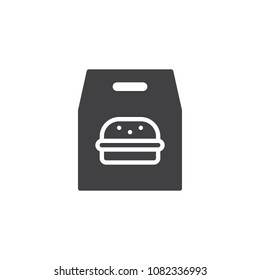 Burger paper bag vector icon. filled flat sign for mobile concept and web design. Take away fast food simple solid icon. Symbol, logo illustration. Pixel perfect vector graphics